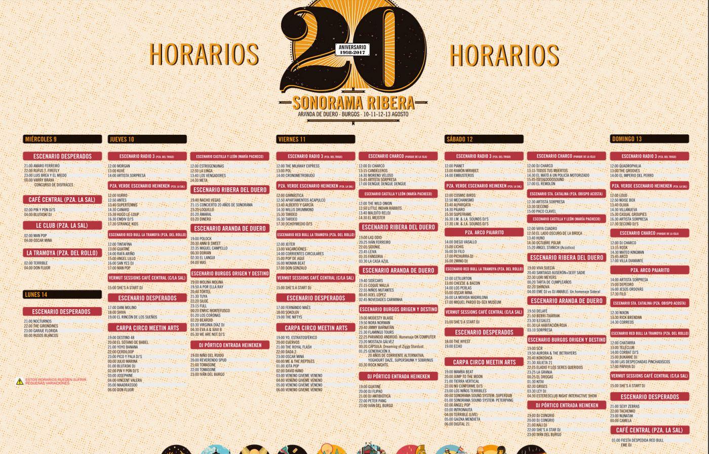 Horarios del Sonorama 2017.